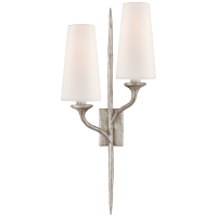 Iberia Double Right Sconce in Burnished Silver Leaf with Linen Shades