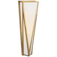 Lorino Medium Sconce in Hand-Rubbed Antique Brass with White Glass