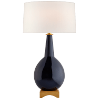 Antoine Large Table Lamp in Mixed Blue Brown with Linen Shade