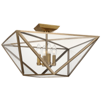 Lorino Large Semi-Flush Mount in Hand-Rubbed Antique Brass with Clear Glass