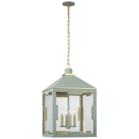 Ormond Medium Lantern in Celadon and Gild with Clear Glass