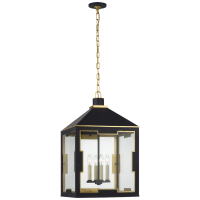 Ormond Medium Lantern in Matte Black and Gild with Clear Glass