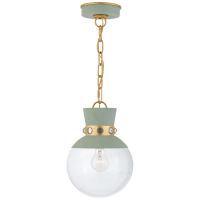 Lucia Small Pendant in Celadon and Gild with Clear Glass