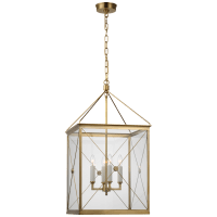 Rossi Medium Lantern in Antique-Burnished Brass with Clear Glass