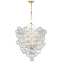 Talia Grande Entry Chandelier in Gild with Clear Swirled Glass