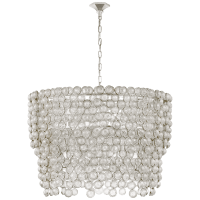 Milazzo Large Waterfall Chandelier in Burnished Silver Leaf and Crystal