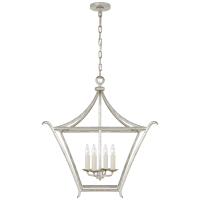 Aria Medium Square Lantern in Burnished Silver Leaf