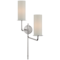 Larabee Double Swing Arm Sconce in Polished Nickel with Cream Linen Shades