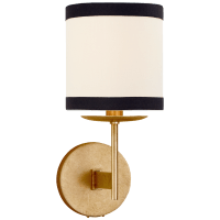 Walker Small Sconce in Gild with Cream Linen Shade with Black Linen Trim
