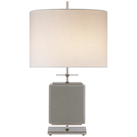 Beekman Small Table Lamp in Grey Reverse Painted Glass with Cream Linen Shade
