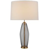 Everleigh Large Fluted Table Lamp in Smoked Glass with Linen Shade