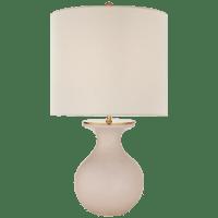 Albie Small Desk Lamp in Blush with Cream Linen Shade