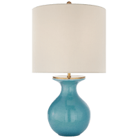 Albie Small Desk Lamp in Sandy Turquoise with Cream Linen Shade