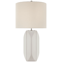 Carmilla Medium Table Lamp in Matte White with Linen Shade