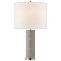 Clary Large Table Lamp in Shellish Gray with Linen Shade