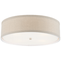 Walker Large Flush Mount in Light Cream with Natural Linen Shade