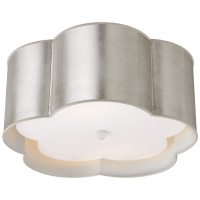 Bryce Medium Flush Mount in Burnished Silver Leaf and White with Frosted Acrylic Diffuser