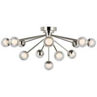 "Alloway 30"" Flush Mount in Polished Nickel with Clear Glass"