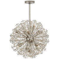 Dickinson Medium Chandelier  in Polished Nickel with Clear Glass and Cream Pearls