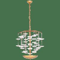 Leighton Medium Cascading Chandelier in Soft Brass with Cream Tinted Glass
