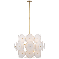 Leighton Large Barrel Chandelier in Soft Brass with Cream Tinted Glass