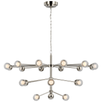 Alloway Large Chandelier in Polished Nickel with Clear Glass