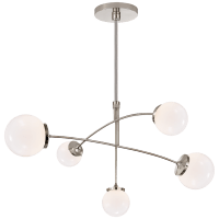 Prescott Medium Mobile Chandelier in Polished Nickel with White Glass