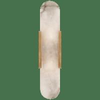 Melange Elongated Sconce in Antique-Burnished Brass with Alabaster