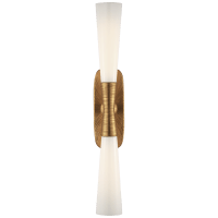 """Utopia 32"""" Double Bath Sconce in Gild with White Glass"""
