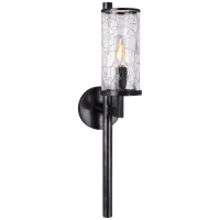 Liaison Single Sconce in Bronze with Crackle Glass