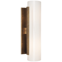 Precision Cylinder Sconce in Antique-Burnished Brass with White Glass