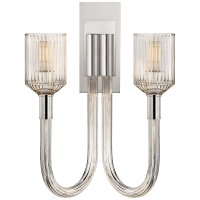 Reverie Double Sconce in Clear Ribbed Glass and Polished Nickel