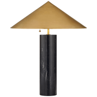 Minimalist Medium Table Lamp in Black Marble with Antique-Burnished Brass Shade