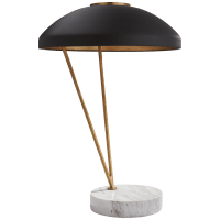 Coquette Table Lamp in Antique-Burnished Brass and White Marble with Black