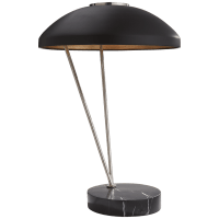Coquette Table Lamp in Polished Nickel and Black Marble with Black