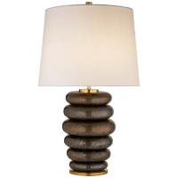 Phoebe Stacked Table Lamp in Crystal Bronze with Linen Shade
