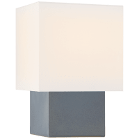 Pari Small Square Table Lamp in Cloudy Blue with Linen Shade