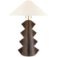Senso Large Table Lamp in Crystal Bronze with Linen Shade