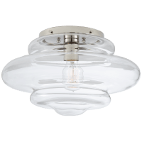 Tableau Medium Flush Mount in Polished Nickel with Clear Glass