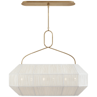 Forza Medium Linear Lantern in Antique-Burnished Brass with Gathered Linen Shade