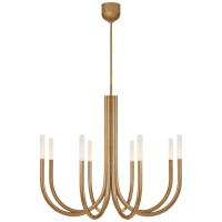 Rousseau Medium Chandelier in Antique-Burnished Brass with Etched Crystal