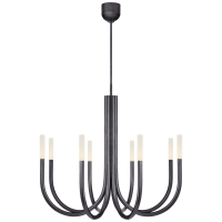 Rousseau Medium Chandelier in Bronze with Etched Crystal