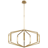 "Appareil 40"" Low Profile Chandelier in Antique-Burnished Brass"