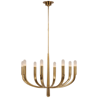 Verso Large Chandelier in Antique-Burnished Brass with Alabaster