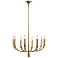 Verso Large Chandelier in Antique-Burnished Brass with Clear Glass