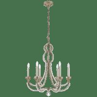 Milan Medium Chandelier in Venetian Silver with Crystal