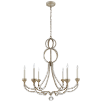 Milan Large Chandelier in Venetian Silver with Crystal