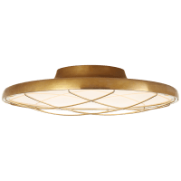 """Dot 16"""" Caged Flush Mount in Natural Brass"""