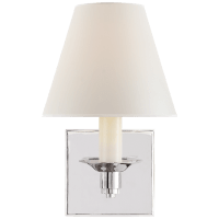 Evans Single Arm Sconce in Polished Nickel with Percale Shade