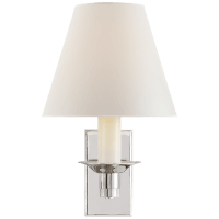 Evans Library Sconce in Polished Nickel with Percale Shade